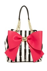 Betsey Johnson Bow And Arrow Faux Leather Tote Pink