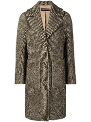Luisa Cerano Houndstooth Pattern Knitted Coat Yellow