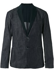Emporio Armani Faille Trimmed Denim Blazer Blue