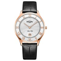Rotary Gs08304 01 Men's Ultra Slim Date Leather Strap Watch Black White