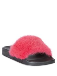 Givenchy Mink Fur And Rubber Slides Fuchsia Black