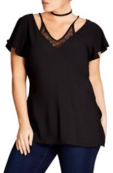City Chic Plus Size Women's Lace Inset Top Black