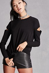 Forever 21 Lace Up Cutout Longline Top