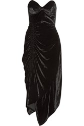 Preen By Thornton Bregazzi Alexa Strapless Lace Trimmed Velvet Dress Black