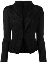 Issey Miyake Pleats Please By Pleated Open Front Cardigan Women Polyester 4 Black