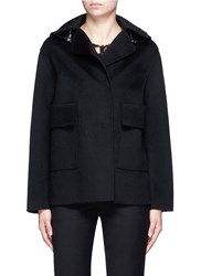 Ms Min Detachable Hood Wool Jacket Black
