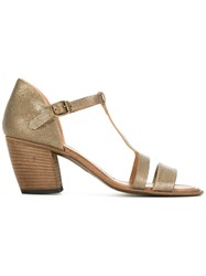 Pantanetti T Strap Sandals Metallic