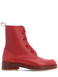 Red Valentino 30Mm Comballet Leather Ankle Boots Red