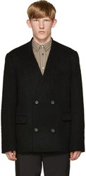 Robert Geller Black Textured Double Breasted Blazer