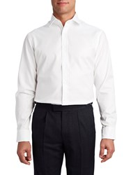 T.M.Lewin Men's Tm Lewin Fitted Plain White Oxford Button Cuff Shirt White