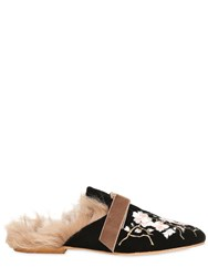 Gia Couture 10Mm Embroidered Velvet And Fur Mules