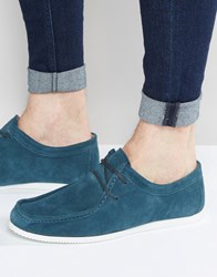 Asos Wallabee Shoes In Teal Suede With White Sole Teal Blue