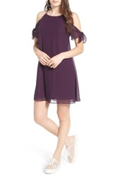 Soprano Women's Tie Sleeve Cold Shoulder Dress Dark Purple