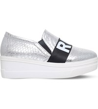 Kg By Kurt Geiger Lover Leather Flatform Trainers Silver