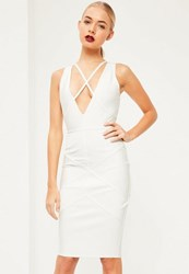 Missguided Premium White Bandage Harness Detail Midi Dress