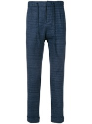 Paolo Pecora Striped Tapered Trousers Blue