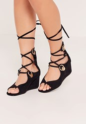 Missguided Black Eyelet Detail Low Wedge Sandals