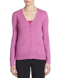 Lord And Taylor Plus Merino Wool V Neck Cardigan Island Orchid