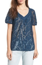 Hinge Lace Tee Blue Wing