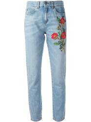 Gucci Embroidered Flower Jeans Blue