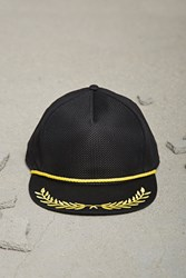 Forever 21 Men Filigree Cap Black Yellow