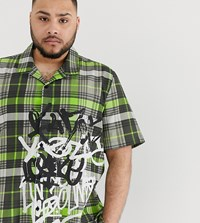 Jaded London Revere Collar Shirt In Neon Green Check With Graffiti