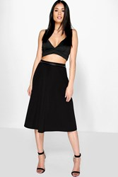 Boohoo Plain Full Circle Skater Skirt Black