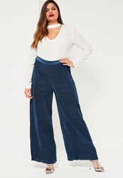 Missguided Plus Size Navy Pleated Wide Leg Fluted Hem Trousers