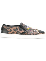 Dolce And Gabbana London Designer's Patch Slip On Sneakers Brown