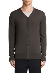 Allsaints Mode Merino Button Up Cardigan Military Brown