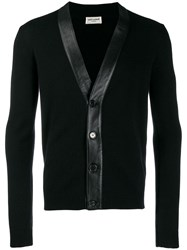 Saint Laurent Cashmere Leather Panelled Cardigan Black
