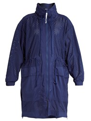Adidas By Stella Mccartney Lightweight Gathered Waist Performance Jacket Navy
