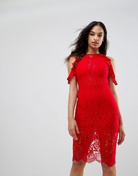 Naanaa Lace Bodycon Midi Dress With Cold Shoulder And Cut Out Detail Red
