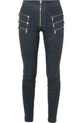 Unravel Project Zip Detailed Leather Skinny Pants Navy
