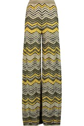 M Missoni Metallic Crochet Knit Wide Leg Pants