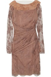Valentino Tulle Paneled Gathered Lace Dress Taupe