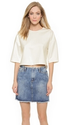 Mason By Michelle Mason Open Back Crop Top Ivory