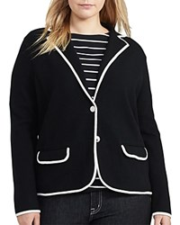 Ralph Lauren Plus Contrast Trim Knit Blazer Polo Black Herbal Milk