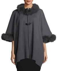 Neiman Marcus Cardigan Cape W Fox Fur Trim Charcoal