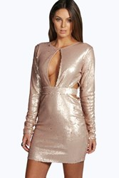 Boohoo Lulu Sequin Cut Out Bodycon Dress Gold