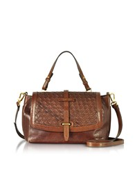 The Bridge Handbags Salinger Woven Leather Medium Satchel Bag