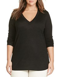 Lauren Ralph Lauren Plus Silk Blend V Neck Sweater Black
