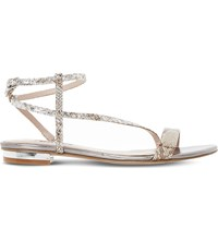 Dune Reptile Effect Metallic Sandals Pewter Reptile Synthetic
