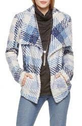 Women's Two By Vince Camuto Fuzzy Plaid Drape Front Coat