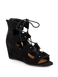 Dolce Vita Lorena Suede Lace Up Wedge Sandals Black