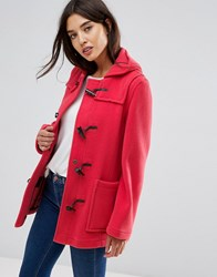 Gloverall Fitted Pannelled Wool Duffle Coat Pink