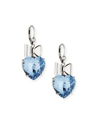 Tory Burch Bow And Crystal Heart Earrings Blue Silver