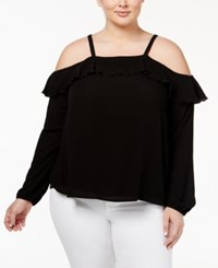 American Rag Trendy Plus Size Ruffled Off The Shoulder Top Only At Macy's Classic Black