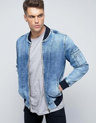 Pepe Jeans Archive Denim Bomber Jacket Blue