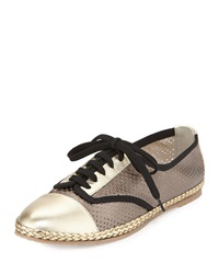 Logan Perforated Leather Sneaker Pewter Sesto Meucci